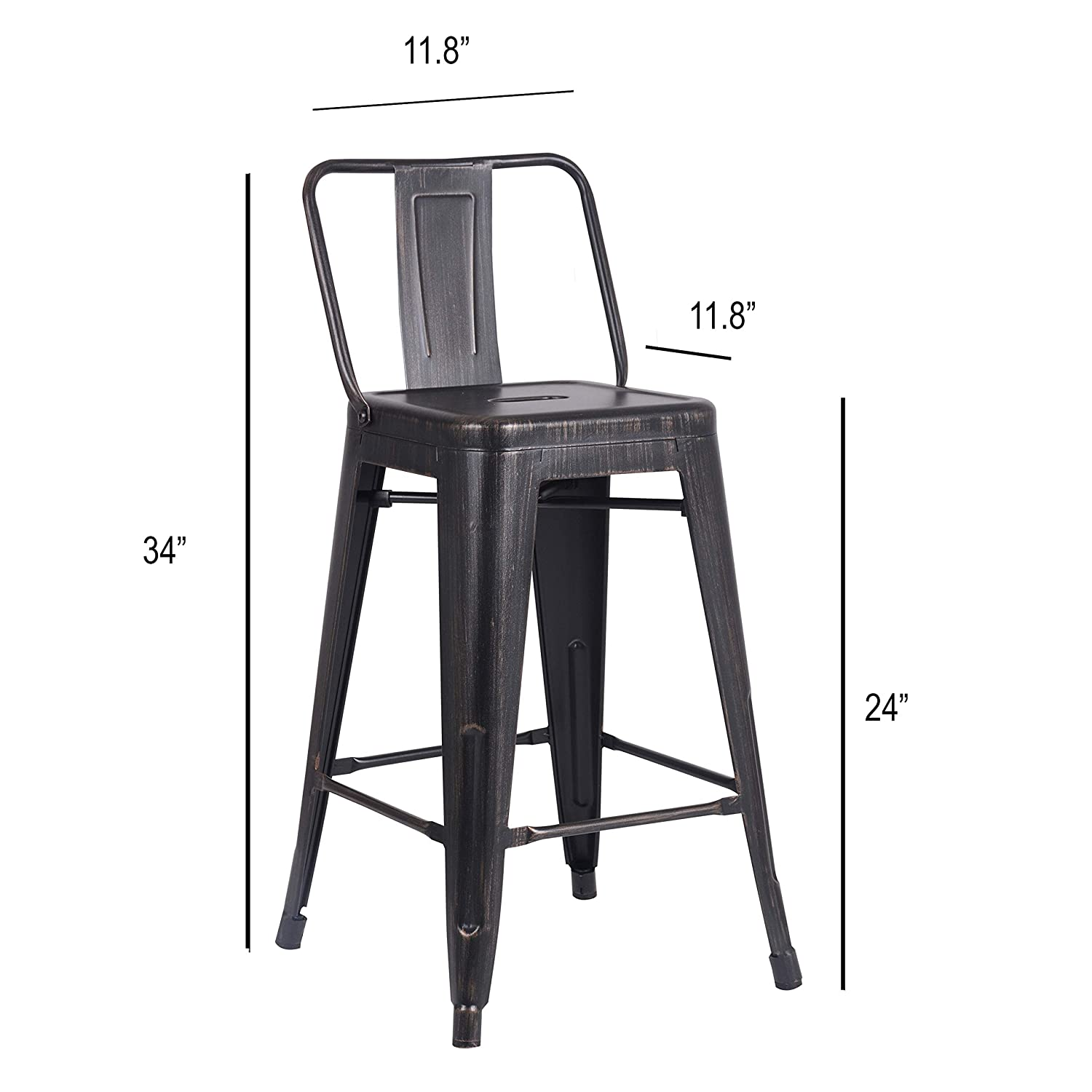 AC Pacific Modern Industrial Metal Barstool with Bucket Back and 4 Leg Design, 24 Seat Bar Stools Set of 2 , Distressed Black Finish