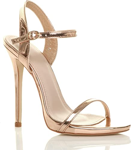 GOLD METALLIC BARELY THERE PARTY PEEP TOES HIGH HEELS STRAPPY SANDALS SHOES SIZE