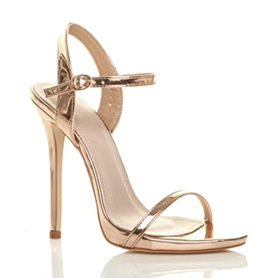 7eeb8f79beb Ajvani Womens Ladies high Heel Strappy Metallic Barely There Sandals Shoes  Size 4 37 Rose Gold