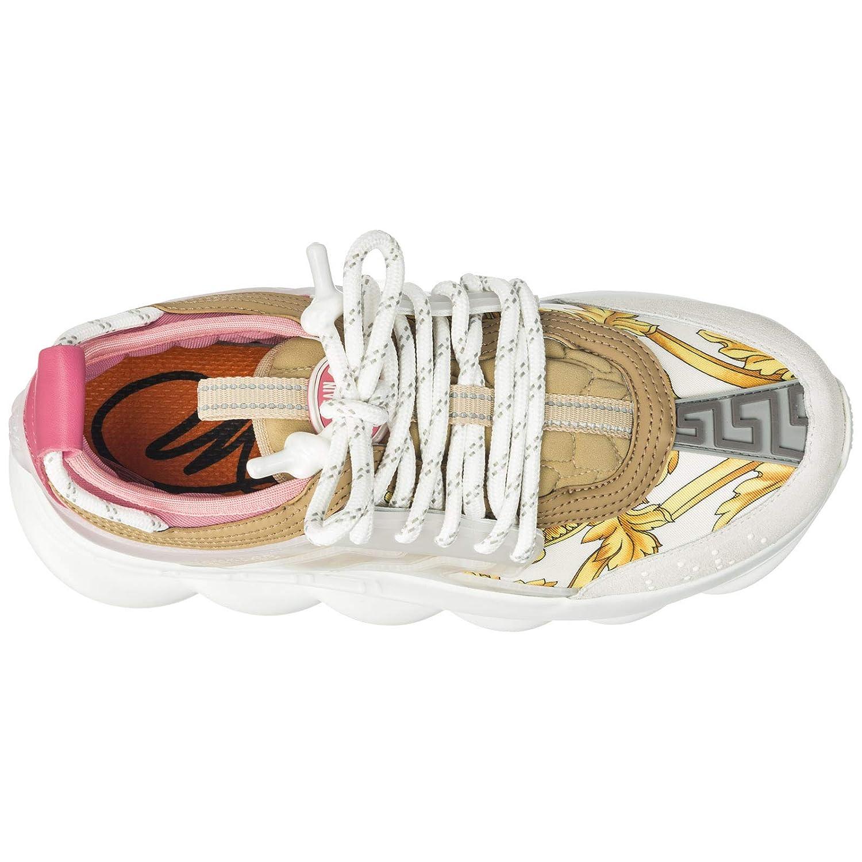 Versace Damen Chain Reaction Turnschuhe Bianco + Gold + Shell Shell Shell Rosa ddeb33