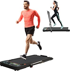 Real Relax 2 in 1 Under Desk Treadmill, 2.25HP Electric Folding Treadmill with Bluetooth Speaker and Remote Control for Home & Office Use