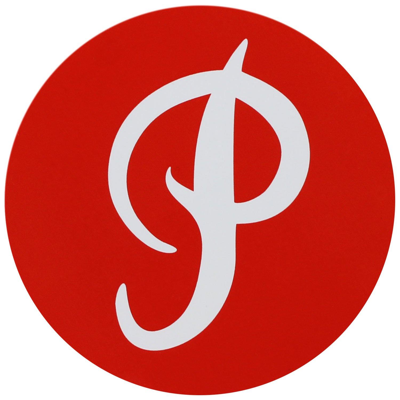 Primitiva monopatín adhesivo P Logo círculo rojo 3