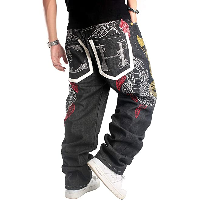 Hip Hop Baggy Jeans Para Hombre Pantalones Bordados Sueltos Pantalones Vaqueros De Mezclilla Danza Pantalones Rectos Creeo Com Br
