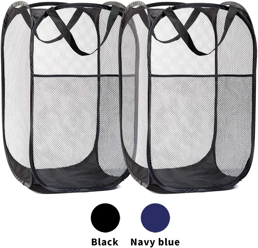 Ipnow Pack of 2 Mesh Clothes Hamper,Premium Popup Laundry Hamper with Side Pocket, Wide Opening,Thickened Mesh and Reinforced Handles,Collapsible to Storage and Easy to Open (Black)