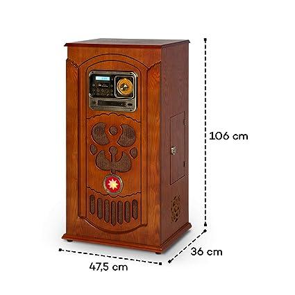 auna Musicbox Jukebox Equipo estéreo Retro - Equipo de música , Tocadiscos , Reproductor CD MP3 , Bluetooth , USB , SD , Radio FM , AUX , Iluminación ...