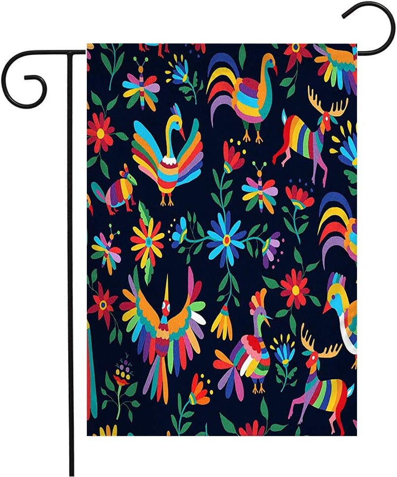 Garden Flag Yard Decorations Colorful Mexico Vibrant Color Happy Hen Spring Animals Wildlife Mexican Flower Pattern Inca Mayan Outdoor Small Polyester Flag Double Sided 12