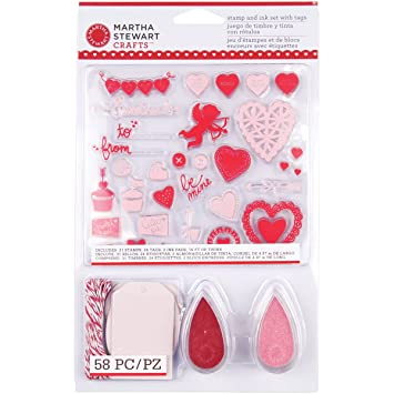 Amazon Com Martha Stewart Crafts Valentine Stamp And Ink Set With Tags
