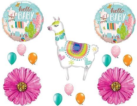 Llama Mama Baby Shower Girl Balloons Decoration Supplies Daisy Cactus