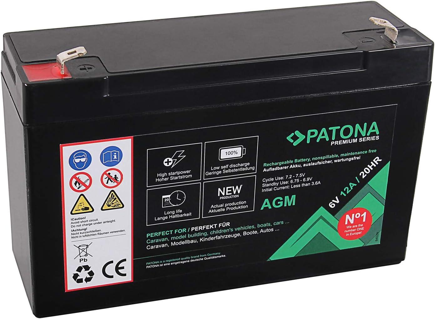 Patona Premium AGM 6V 12Ah Lead Battery VRLA Maintenance-Free 1800 Cycles