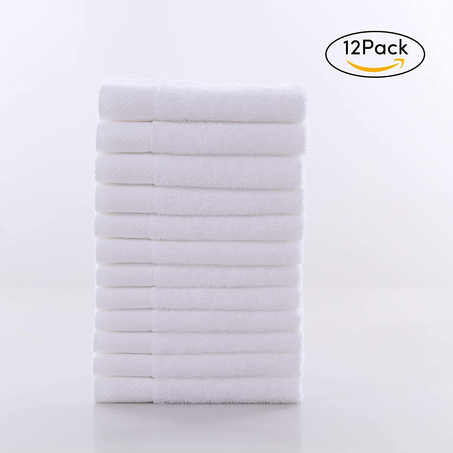 VANWEIDI Luxury Hotel Cotton Washcloth Towels - Face Cloths 12 Pack - 13.8 × 13.8- Super Absorbent & Extra Soft - for Use in Bathroom, Kitchen, Nursery and Cleaning - Machine Washable, White Lovefire International