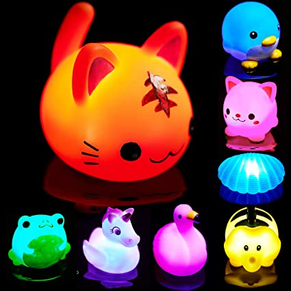 Bath Toys for Toddlers Baby 8 Pack Light Up Toys Bathtub Toy Flashing Colourful LED Light Shower Bathtime For Kids Toddler Child Infants Preschool Bathroom Bathtub Shower Swimming Pool Party Games