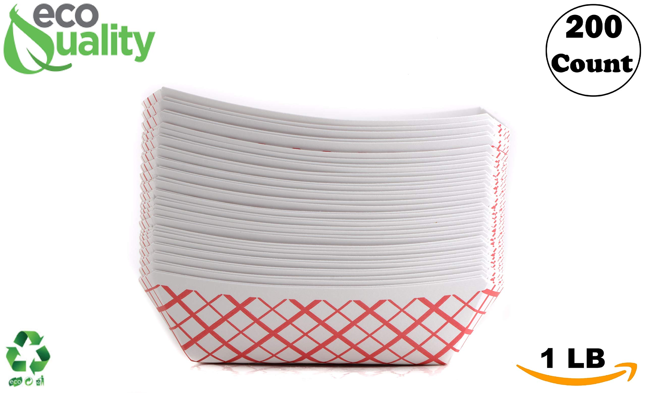 200ct Heavy Duty Disposable Paper Food Tray (1 LB) - Red Check Food Tray, USA MADE, Recyclable, Biodegradable, Compostable, Great for Picnics, Carnivals, Party, Camping, BBQ, Restaurants, Fries