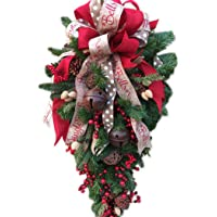 Coxeer Christmas Swag Holida Home Decoration Fruit Bell Ribbon Teardrop Door Swag for Xmas
