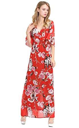 Apricus Womens Plus Size Chiffon Floral Animal Print Maxi Prom Dress 2XL Multicolor