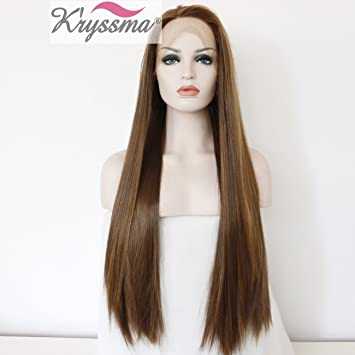 K ryssma® Long Straight Brown Synthetic Hair Wig with Honey Blonde  Highlights Glueless Lace 66594e363