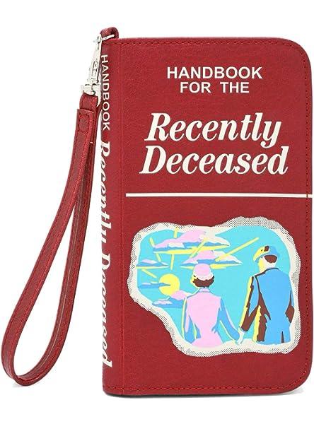 6 x 9 x 2 1//4 Brown Spirit Beetlejuice Handbook For The Recently Deceased Crossbody Bag