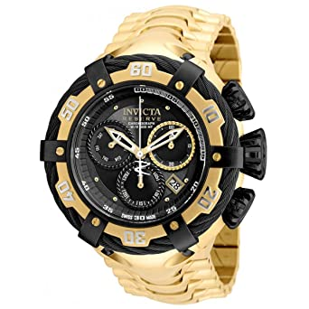 Invicta Mens Bolt Gold-Tone Steel Bracelet & Case Swiss Quartz Black Dial Analog Watch