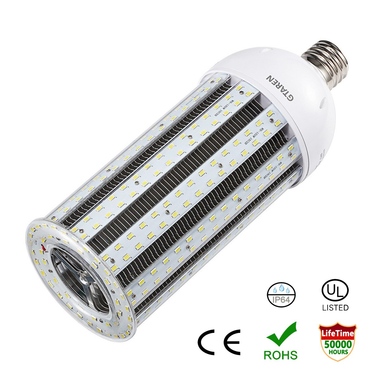 LED Corn Light Bulb 120W E39 Large Mogul Screw Base UL listed 15000Lm 5000K Daylight for Metal Halide HID CFL HPS,Replacement Garage Parking Lot High Bay Warehouse Street Lamp Lighting.