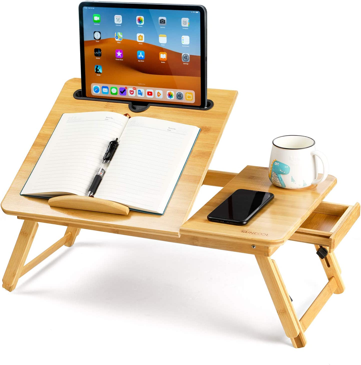 EIGSO Laptop Bed Desk Table Tray with Foldable Pull Down Legs and Storage Drawer, Multi-Position Adjustable Tilt Surface for Computer iPad Book Study Writing Reading and Eating