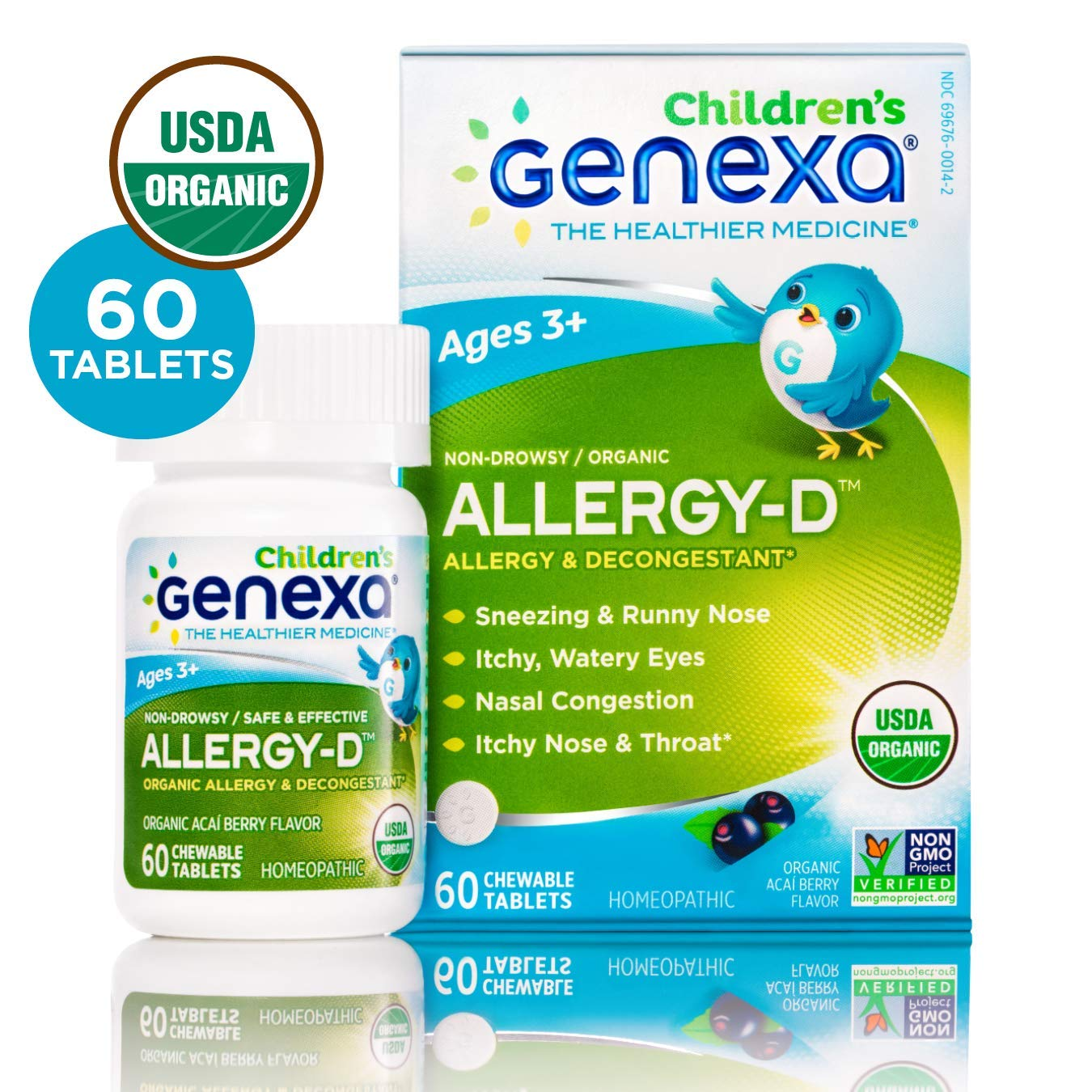 Genexa Allergy-D for Children – 60 Tablets | Certified Organic & Non-GMO, Physician Formulated, Homeopathic