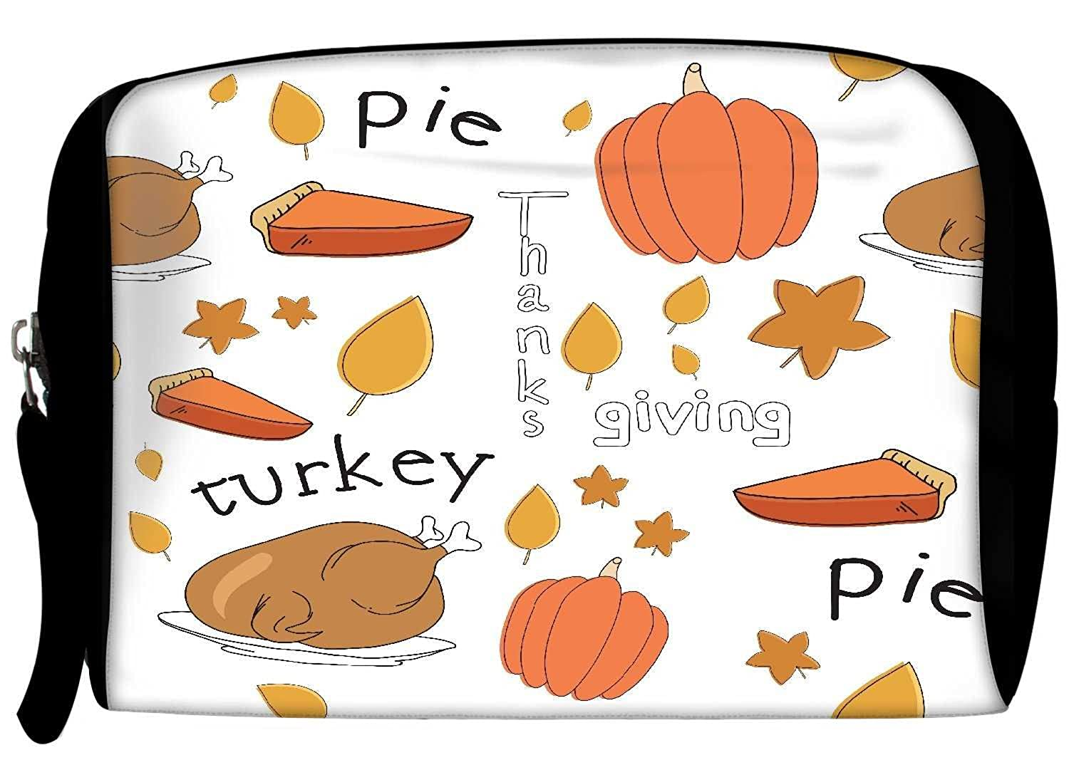 Snoogg Thanks Giving Poly Canvas Student Pen Pencil Case Coin Purse Utility Pouch Cosmetic Makeup Bag