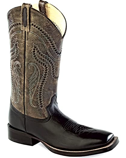 Men's Charcoal Crackle Western Boot Square Toe - Bsm1851