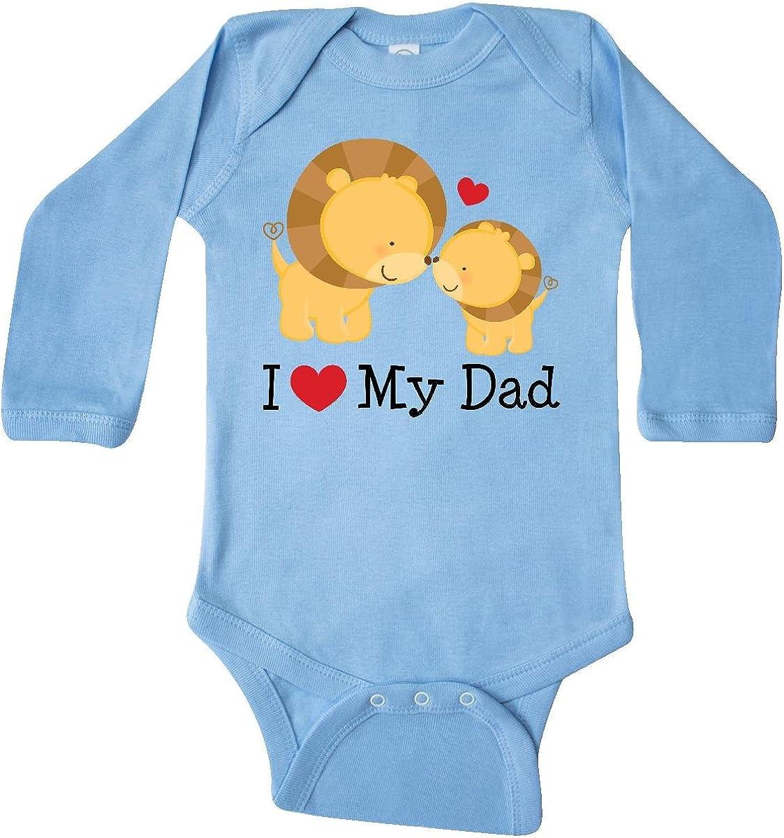 inktastic I Heart My Dad Lion and Cub Long Sleeve Creeper