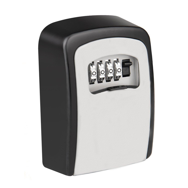 KIPRUN Key Storage Lock Box, 4-Digit Combination Lock Box, Wall Mounted Lock Box, Resettable Code (Circular)