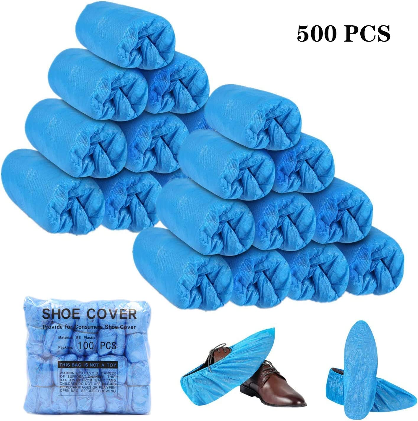 500 PCS Offices,Floor Carpet Protection,One Size Fits All Shoe Covers Disposable Waterproof Shoe Cover Non-slip Shoe Protector Overshoes for Construction