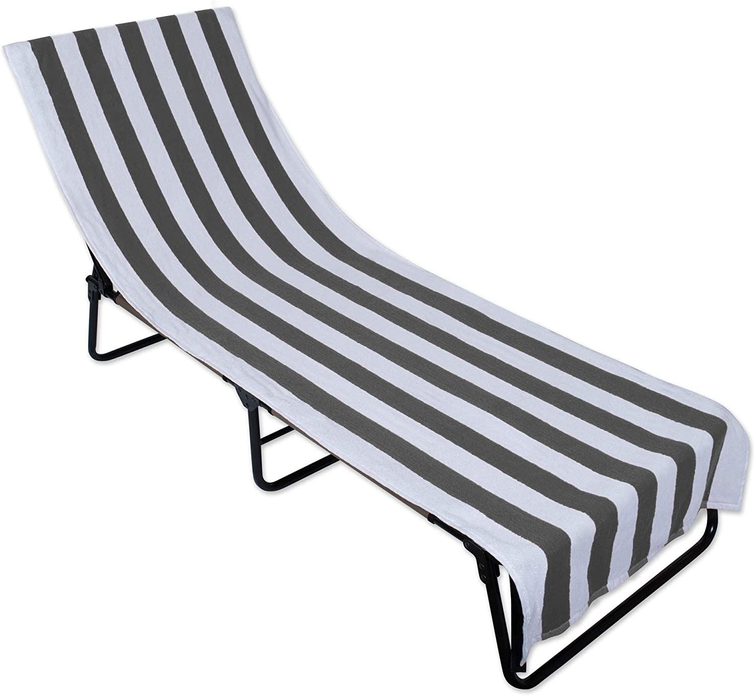 DII Stripe Beach Lounge Chair Towel with Fitted Top Pocket, 26x82, Gray
