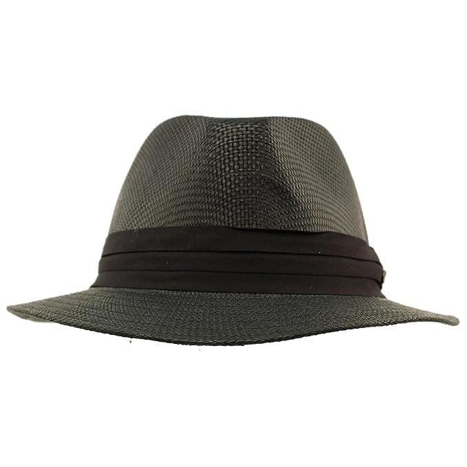 e755e3b453 SK Hat shop Men's Summer Lightweight Short Panama Derby Fedora Flat Brim Hat  at Amazon Men's Clothing store:
