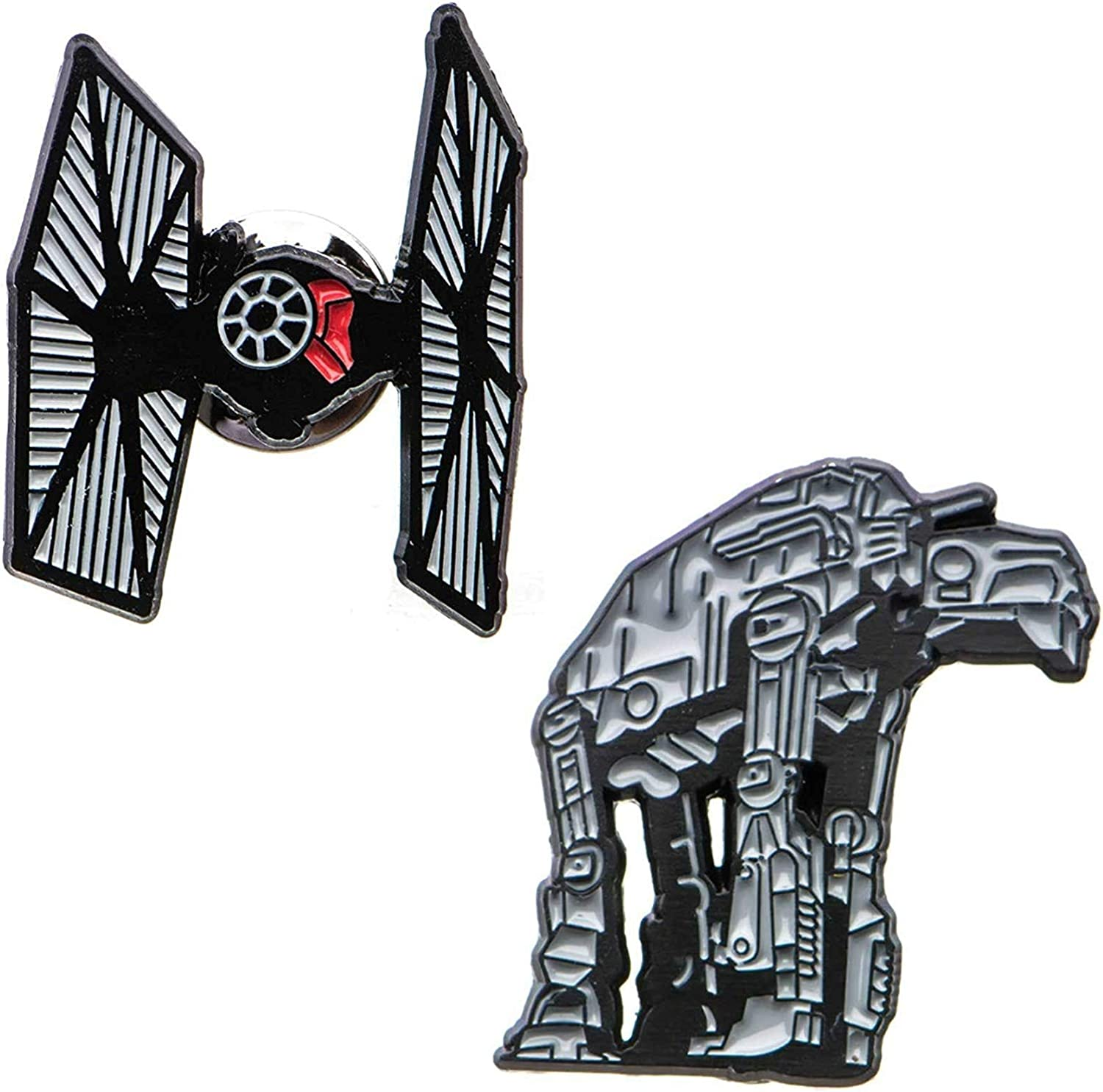 Star Wars Men's Base Metal at-at Cut Out and Tie Fighter Enamel Lapel Pin Set