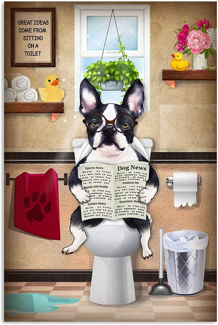 IceCream3DStore Boston Terriers Dog Toilet Poster   Dog Lover Gift   Home Decor Wall Art Vertical Poster   Funny Gift for Home Decor Wall Art Print Poster   Full Size 12x18 16x24 24x36 27x40  