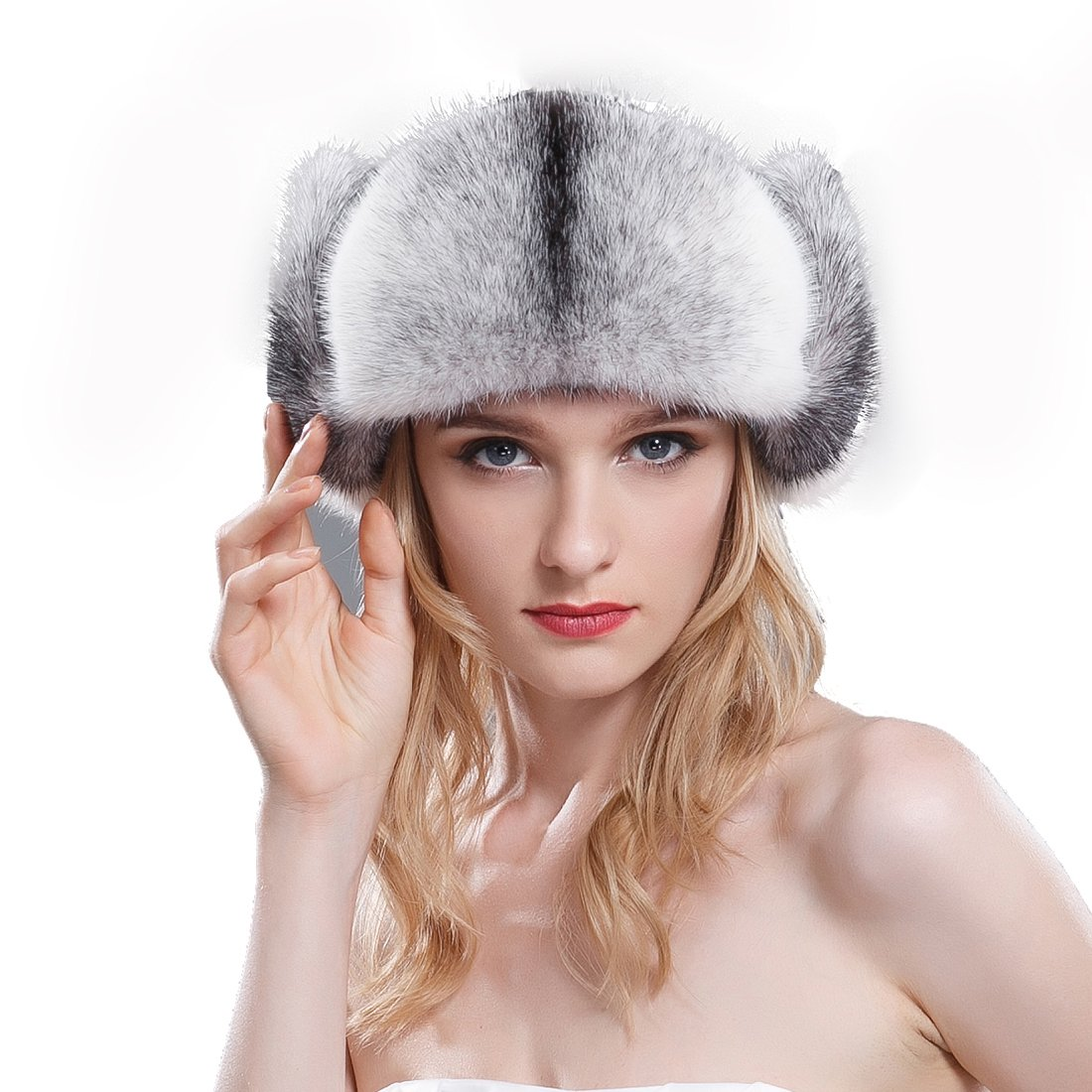 URSFUR Women's Mink Fur & Leather Trapper Hats (One Size, Cross Mink Natural Color)
