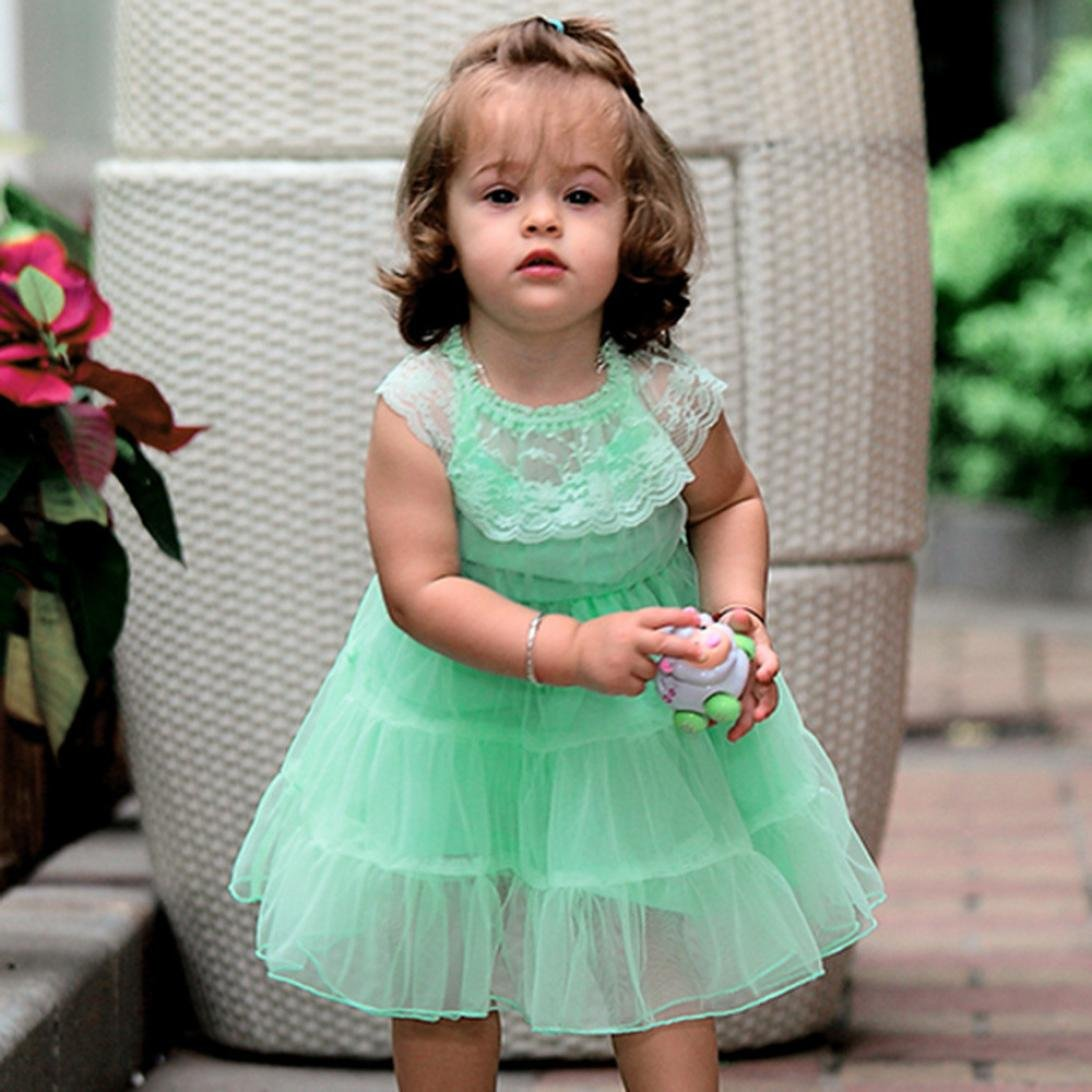 Dinlong Baby Girls Cute Solid Lace Dress Net Yarn Princess Party Dress Outfit