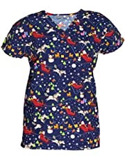 Womens Ultra Soft Microfiber Halloween Christmas Holiday Medical Scrub Top