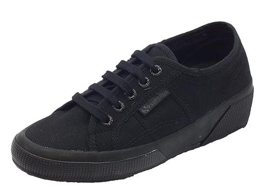 Sneakers Superga modello classico per donna in tessuto nero zeppa interna