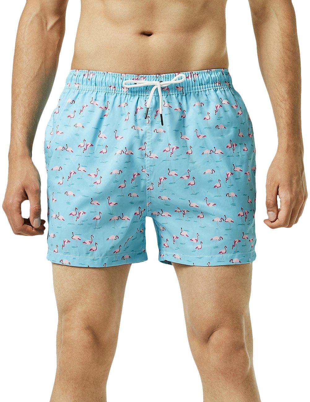 e3e5d1b1f371c Galleon - MaaMgic Mens Quick Dry Printed Short Swim Trunks With Mesh Lining  Swimwear Bathing Suits