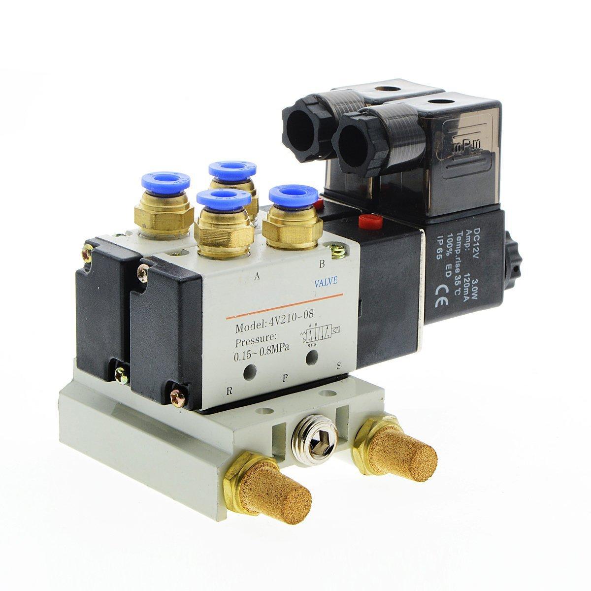 Saim 4V210-08 DC 12V Single Head 2 Position 5 Way Pneumatic Solenoid Valve Base Muffler Quick Fittings Set LS000003