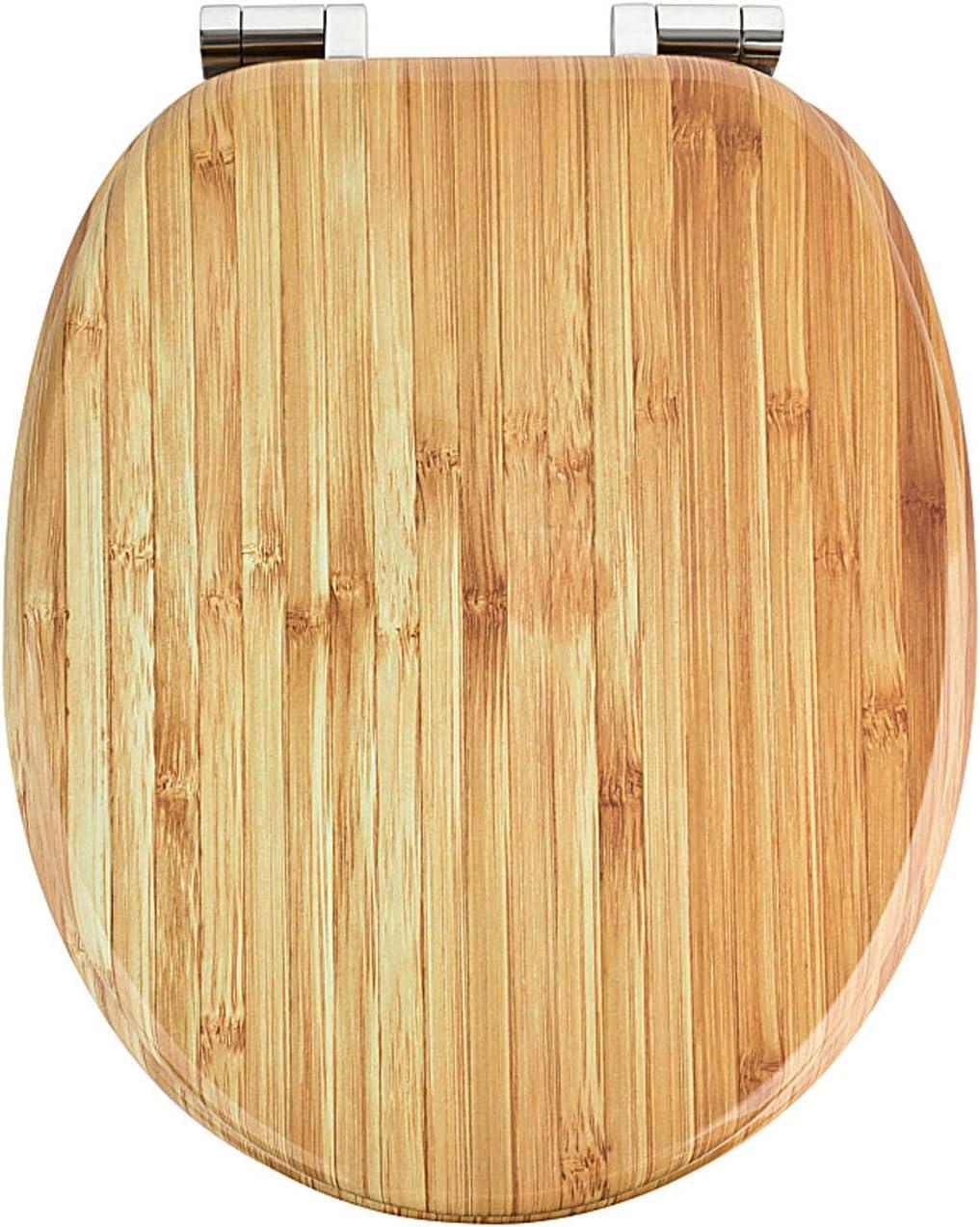 Bambus Holz Premium MDF Toilettensitz WC-Sitz mit Absenkautomatik und verzinkten Scharnieren