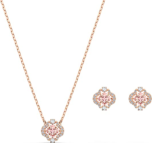 Angelique Pink Crystal and White Faux Pearl Rose Gold Tone Statement Necklace