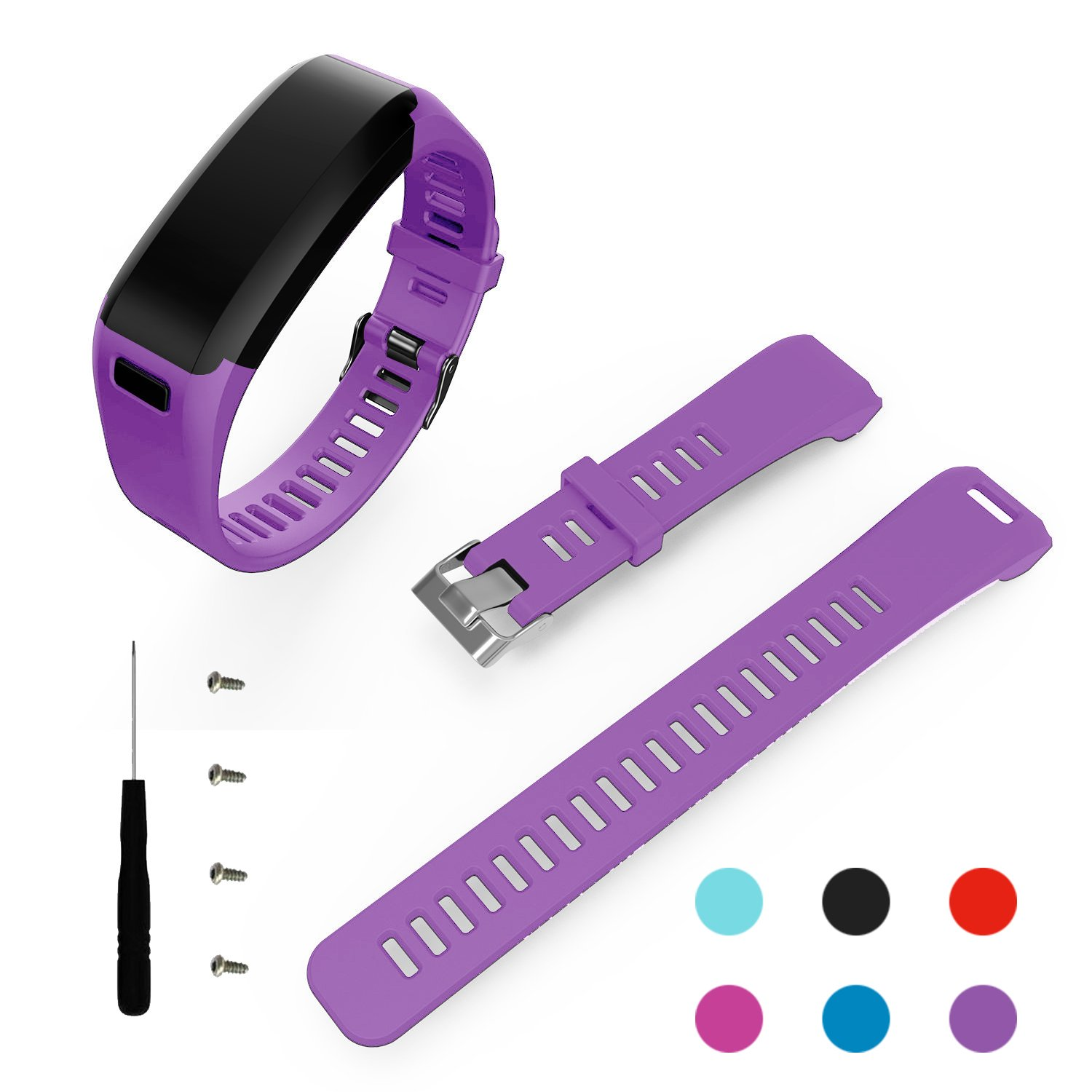 Replacement Soft Silicone Bracelet Sport Strap Wristband Accessory with Screwdriver for Garmin Vivosmart HR No Tracker, Replacement Bands Only BeneStellar for Garmin Vivosmart HR Band