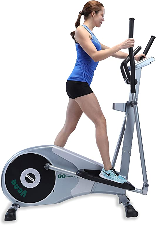 "GOELLIPTICAL V-200 Standard Stride 17"" Programmable Elliptical Exercise Cross Trainer Machine for Cardio Fitness Strength Conditioning Workout at Home or Gym"