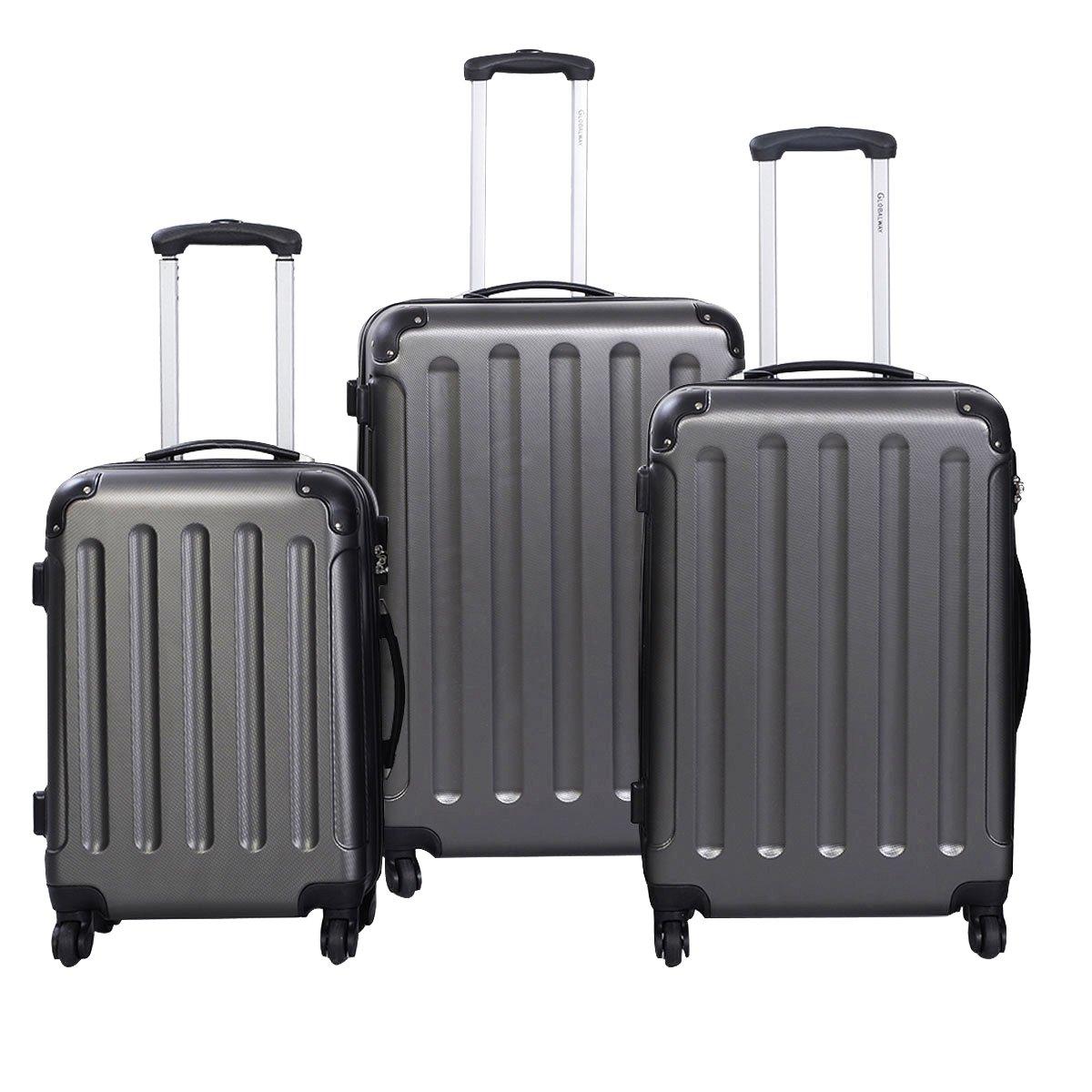 Goplus 3 Pcs Luggage Set Hardside Travel Rolling Suitcase ABS+PC Globalway (Gray) by Goplus