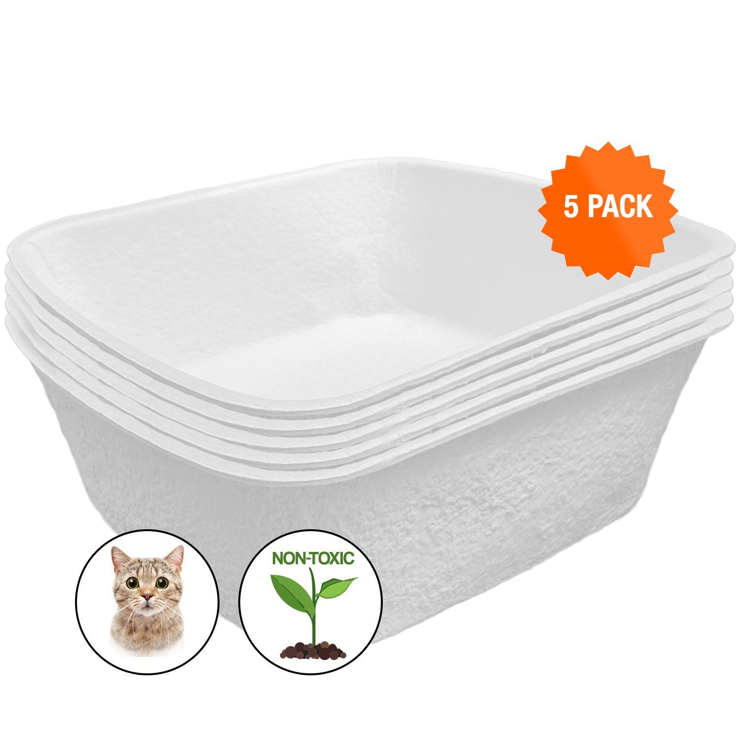 Easyology Large Disposable Litter Box - 5 Pack - Odor Control Disposable Litter Boxes for Cats - Durable Waterproof Disposable Kitty Litter Box - Travel Litter Box - Disposable Litter Boxes for Cats by Easyology