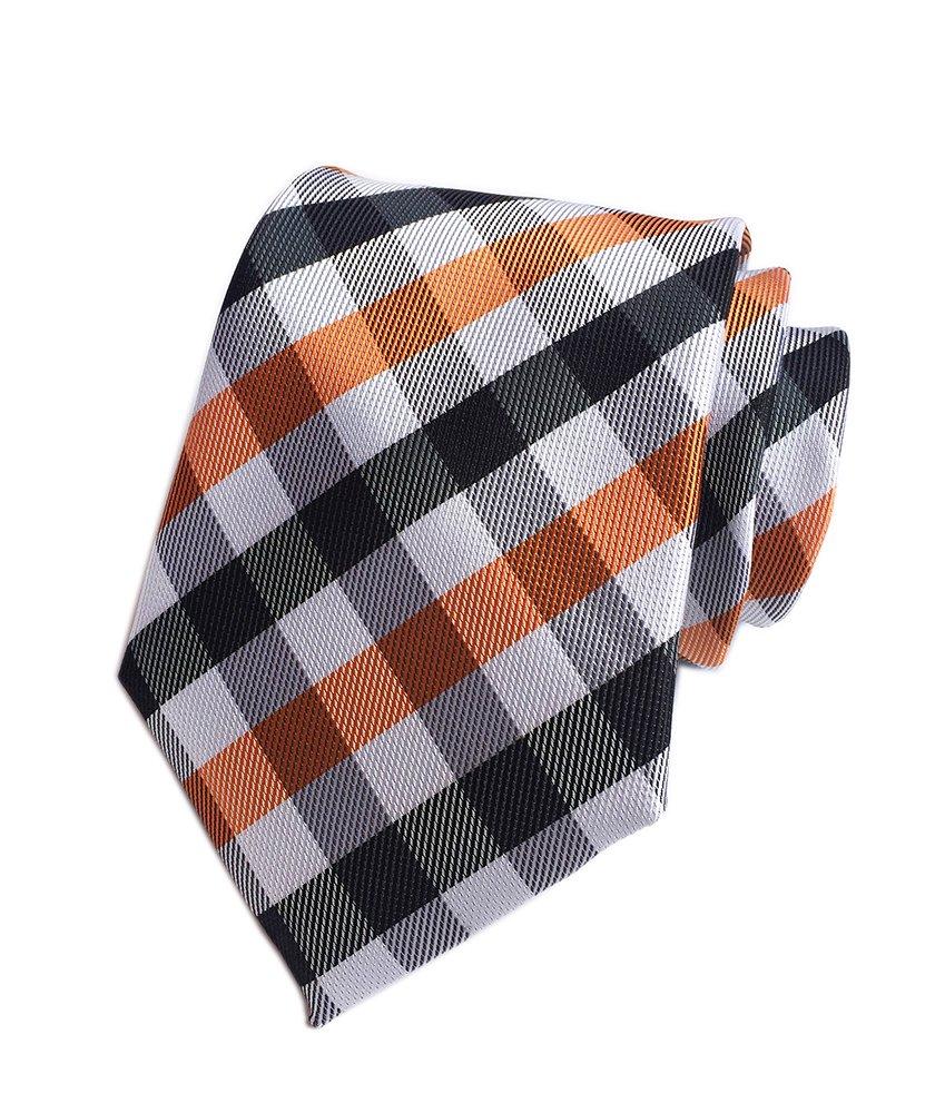 Secdtie Men Classic Black White Orange Jacquard Silk Tie Formal Necktie YUE15