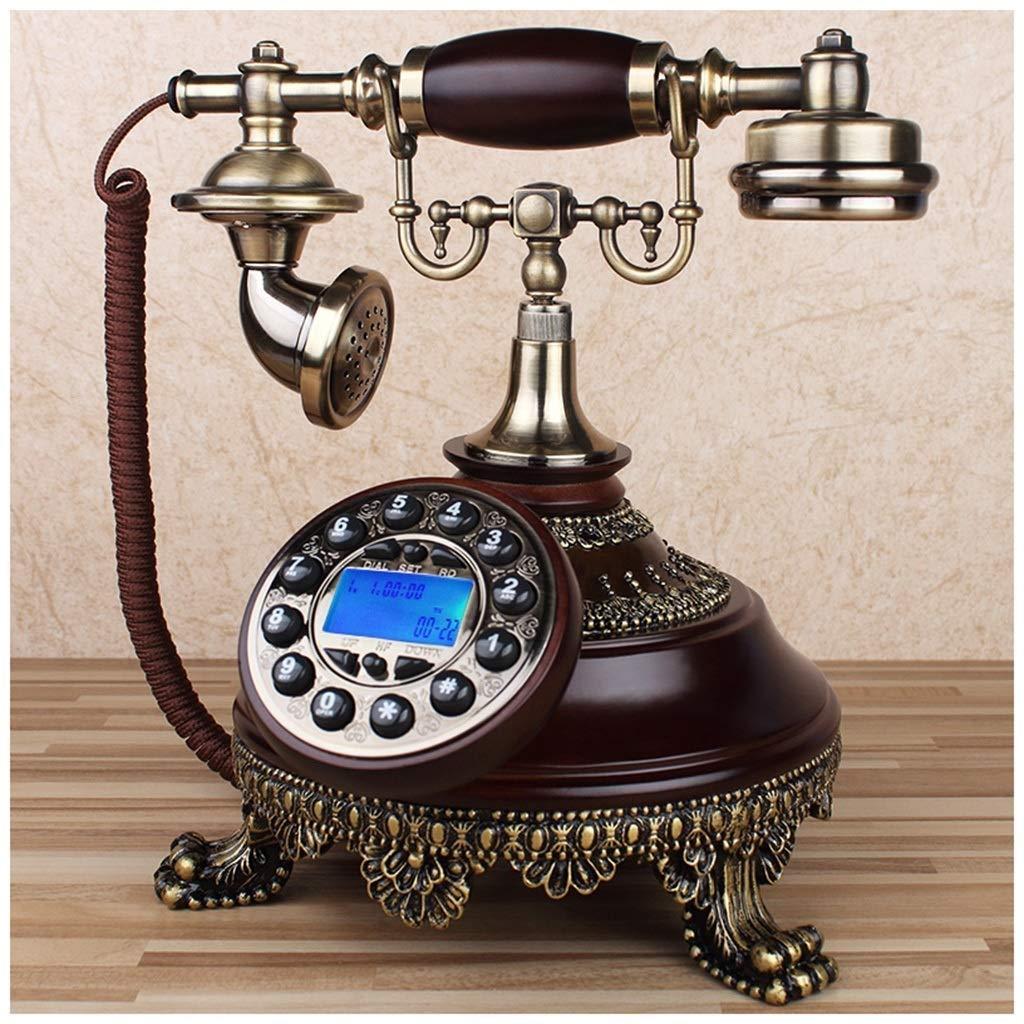 Telephones Phone Hands-Free Backlight Retro Vintage Solid Wood Brown Home Landline Living Room Bedroom Carved Telephone Retro Phone