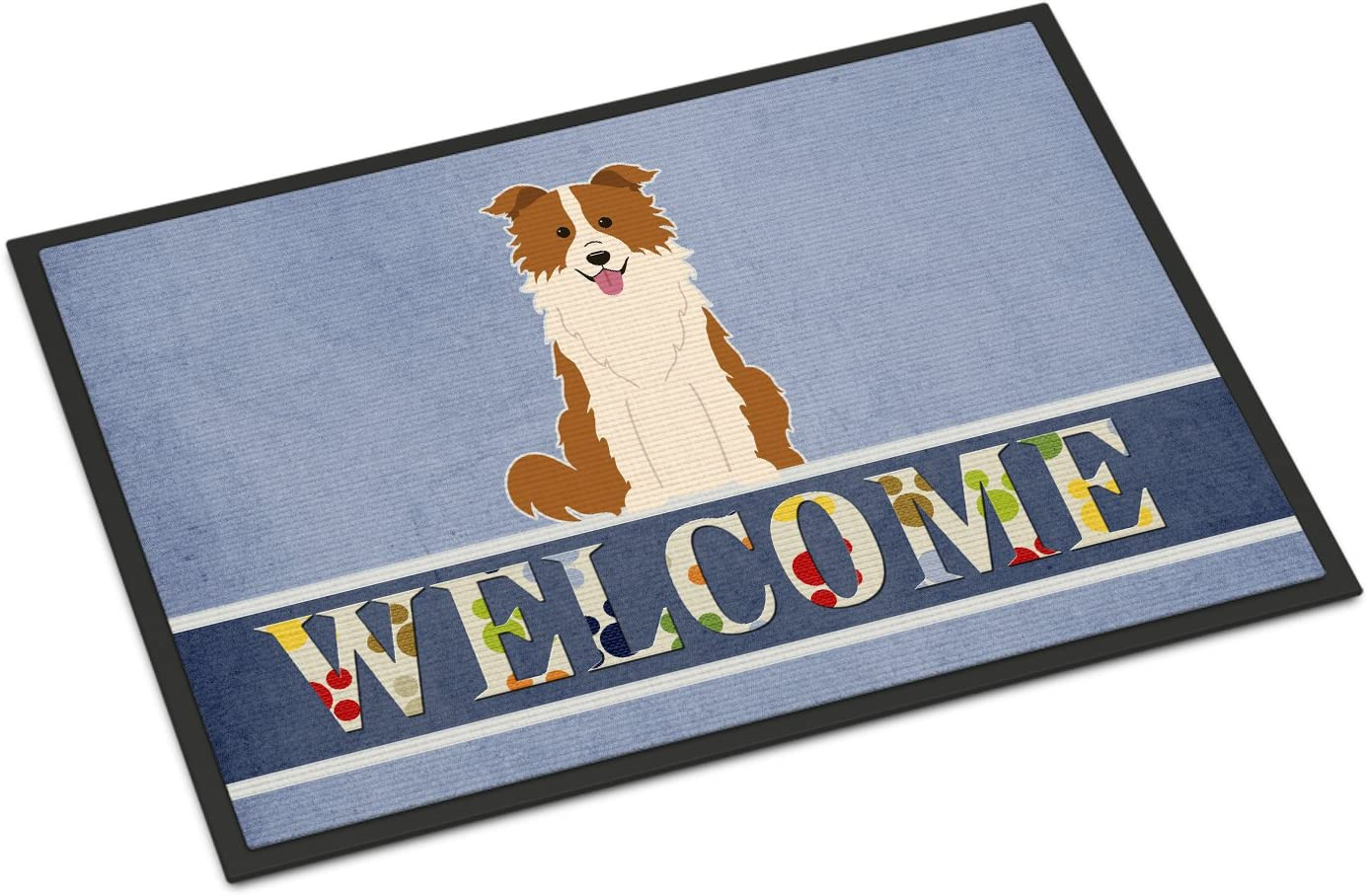 Caroline s Treasures BB5700MAT Border Collie Red White Welcome Indoor or Outdoor Mat 18×27, 18H X 27W, Multicolor