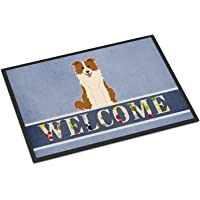 Caroline's Treasures Border Collie Red White Welcome Doormat, BB5700MAT, Multicolor, 18 x 27