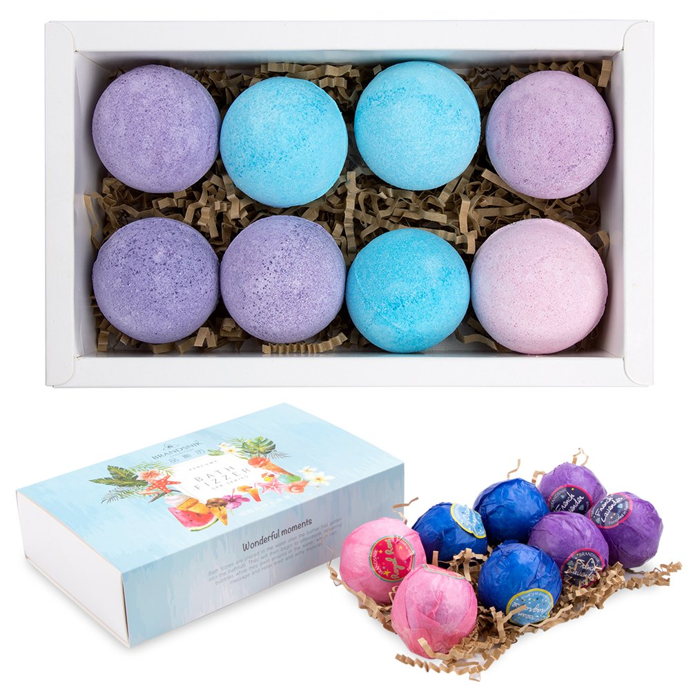 Bath Bombs Gift Set, 8 Handmade Organic Bath Bombs Birthday Kit for Wife Girlfriend Women Kids Boys Men, Essential Oils, Aromatherapy Relaxation Moisturizing SPA Fizzies, Anniversary Valentine's Day Vidillo bath bombs men